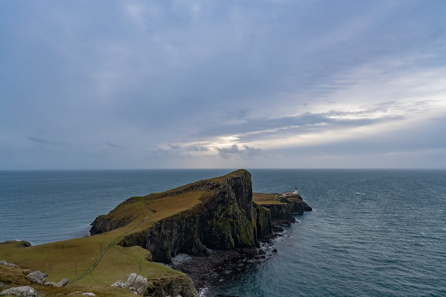 Bewoelkter Tag Neist Point