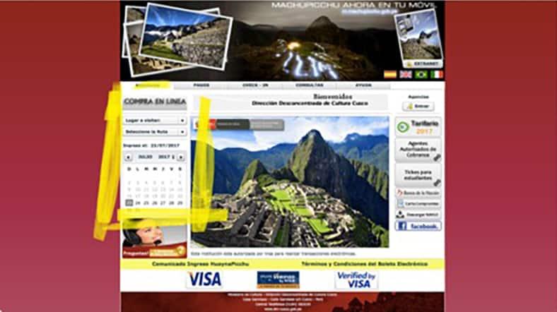 Tickets für den Machu Picchu - Schritt 1