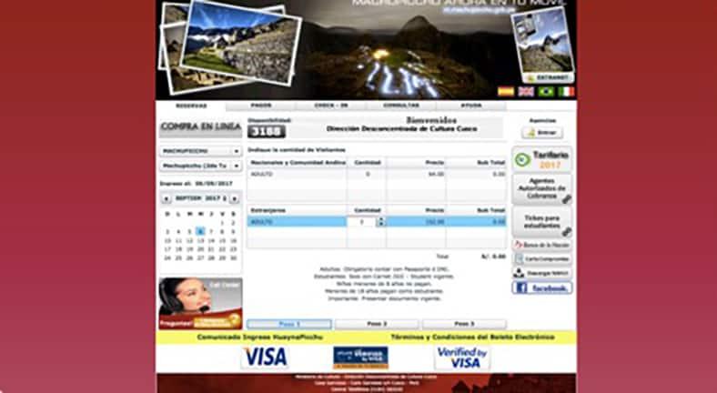 Tickets für den Machu Picchu - Schritt 2