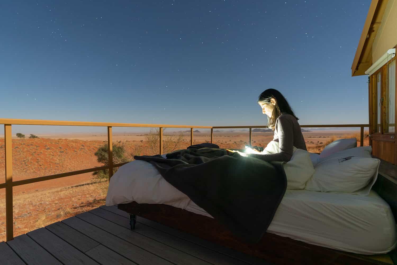 Nachts im Dune Star Camp Namibia