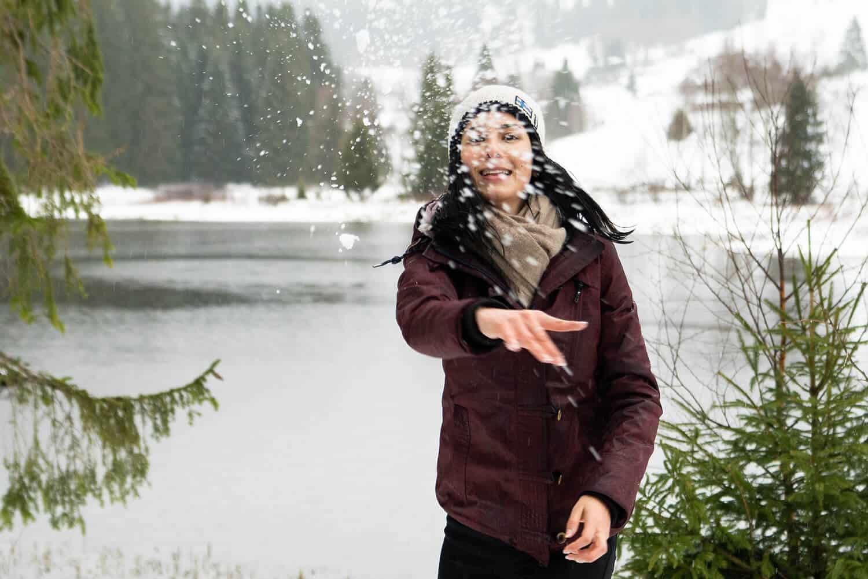 Schneeballschlacht am Schluchsee